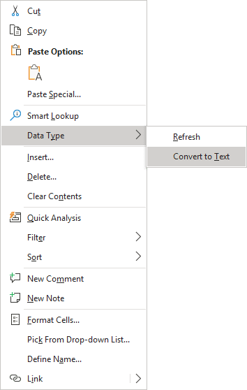 Convert to Text in popup menu Excel 365