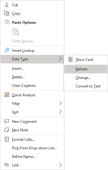 Refresh in popup menu Excel 365