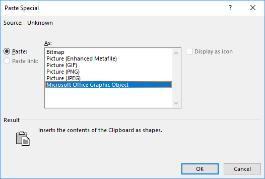 Paste Special dialog box in Word 2016