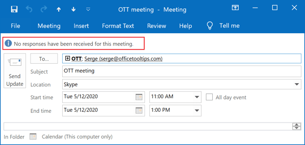 No responses in Outlook 2016