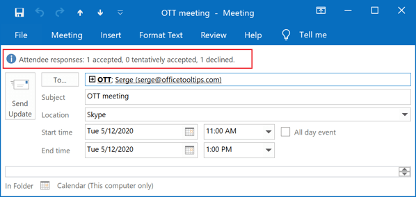 Attendee responses in Outlook 2016