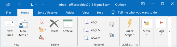 The Ribbon display in Touch Mode in Outlook 2016
