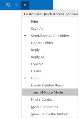 Touch/Mouse Mode command in Outlook 2016