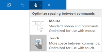 The Ribbon display in Mouse Mode in Outlook 2016