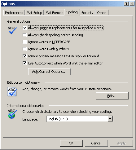 AutoCorrect in Office 2003