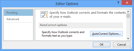 proofing in Outlook 2013
