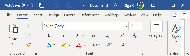 The Ribbon display in Touch Mode in Word 365