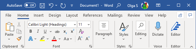 The Ribbon display in Mouse Mode in Word 365