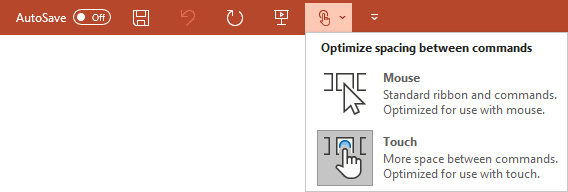 Touch/Mouse Mode command in PowerPoint 365