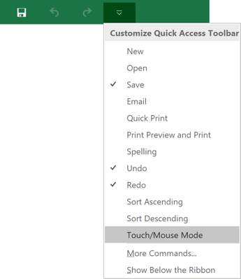 Touch/Mouse Mode command in Excel 2016