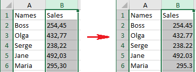 Change comma to decimal point and vice versa in Excel 2016