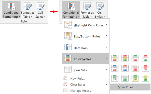 Color Scales of Conditional Formatting in Excel 2016