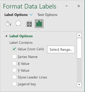 Format Data Labels pane in Excel 365