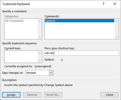Customize Keyboard in Symbols Word 2016