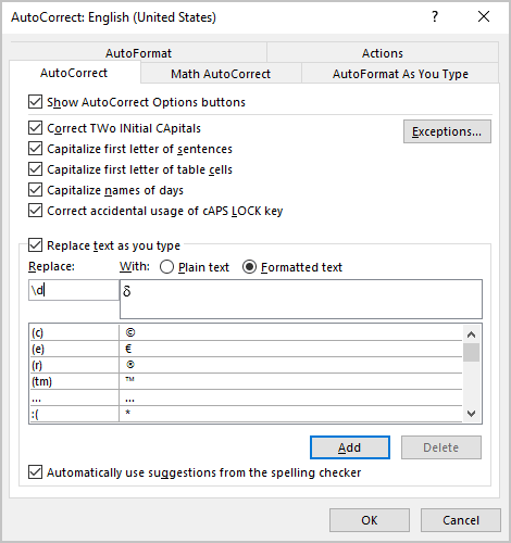 Use AutoCorrect in Word 2016