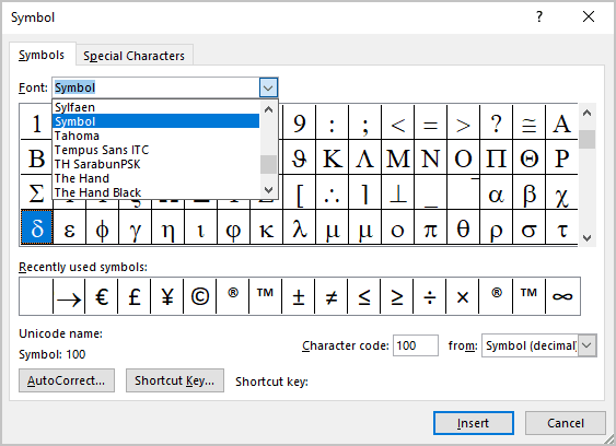 Symbol font in Symbols Word 2016