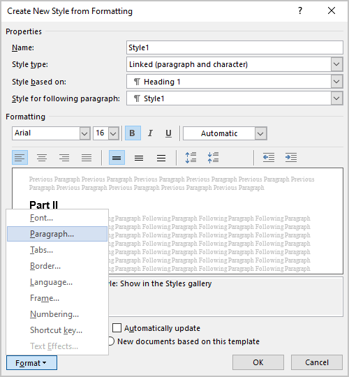 Create New Style from Formatting dialog box in Word 365