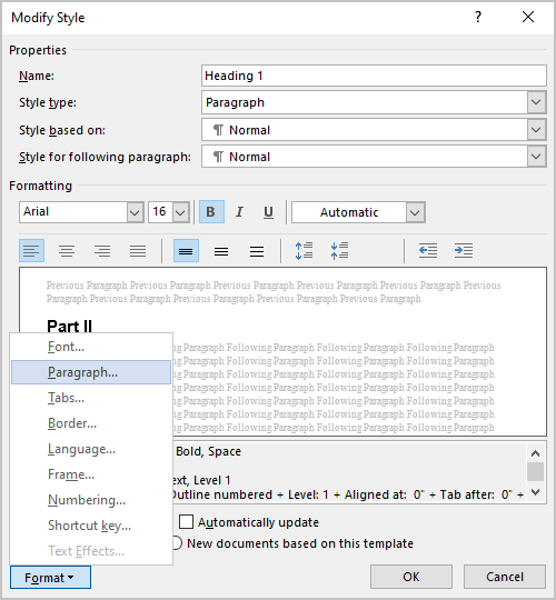 Modify Style dialog box in Word 365