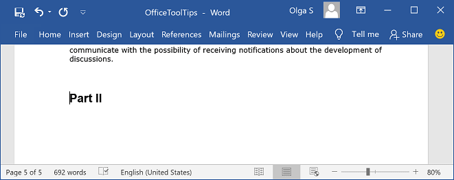 New part of a document in Word 2016