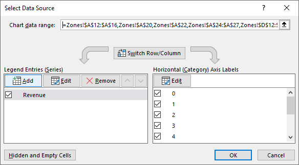 Select Data Source dialog box in Excel 365