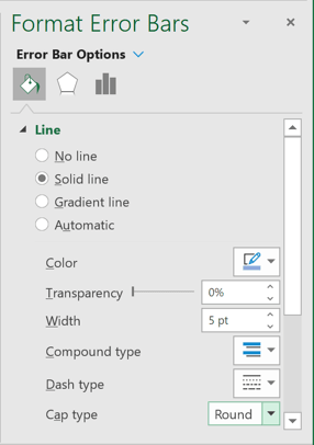 Fill & Line in Format Error Bars pane Excel 365