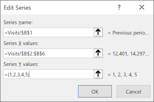 Edit Series dialog box in Excel 365