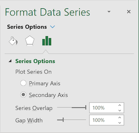 Series Options in Format Data Series pane Excel 2016