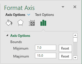 Bounds on the Format Axis in Excel 2016