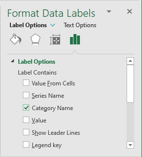 Labels Options in Format Labels Excel 2016