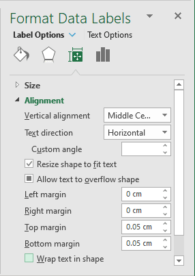 Size and Properties in Format Labels Excel 2016