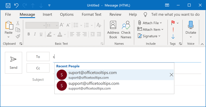 AutoComplete list in Outlook 365