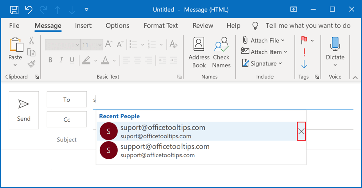 Remove item from the AutoComplete list in Outlook 365