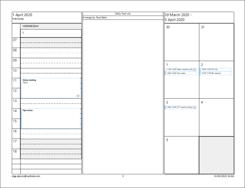 Tri-fold Style of Calendar in Outlook 2016