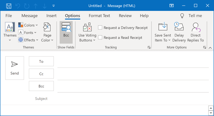 The Bcc button in Outlook 365