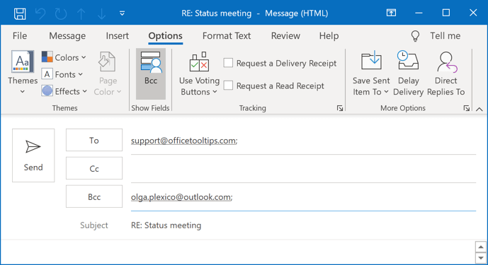 Bcc in a message Outlook 365