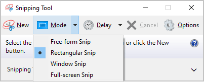 Snipping Tool modes in Windows 10