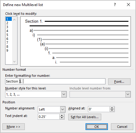 Example of Enter formatting for number in Word 365