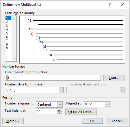 Example of Position controls in Word 365