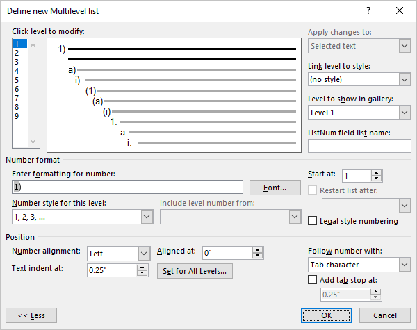 Example of The additional options for the multilevel list in Word 365