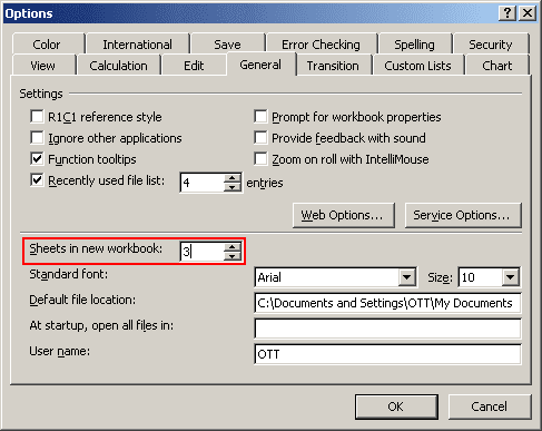 Excel 2003 Options