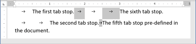 Tab or Tabulation in Word 365