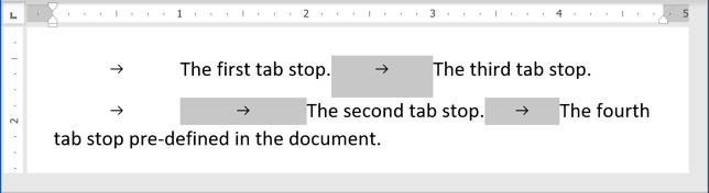 Tab or Tabulation 2 in Word 365