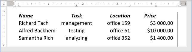 a table-like look for your data in Word 365