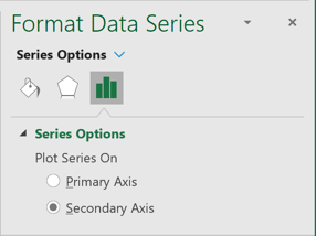 Secondary Axis in Format Data Series pane Excel 365