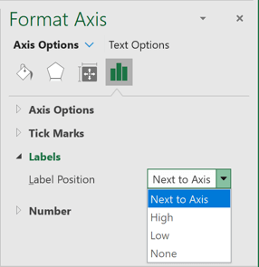 Label Position in Format Axis pane Excel 365