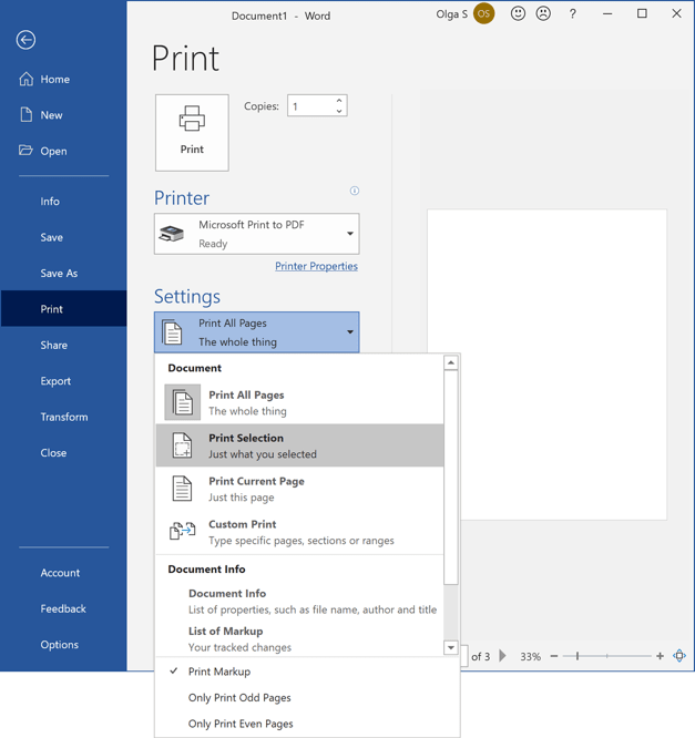 Print only selected text in Word 365