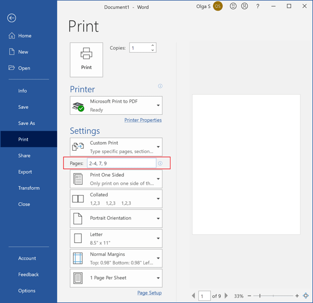 Print only some pages in Word 365