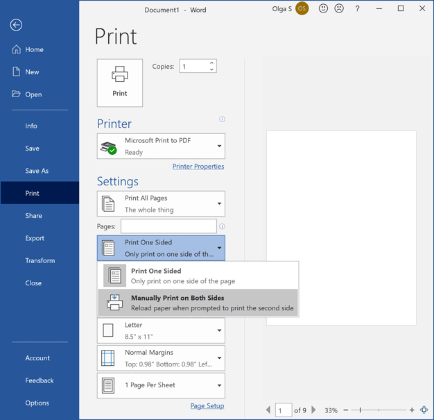 Manually Print on Both Sides in Word 365