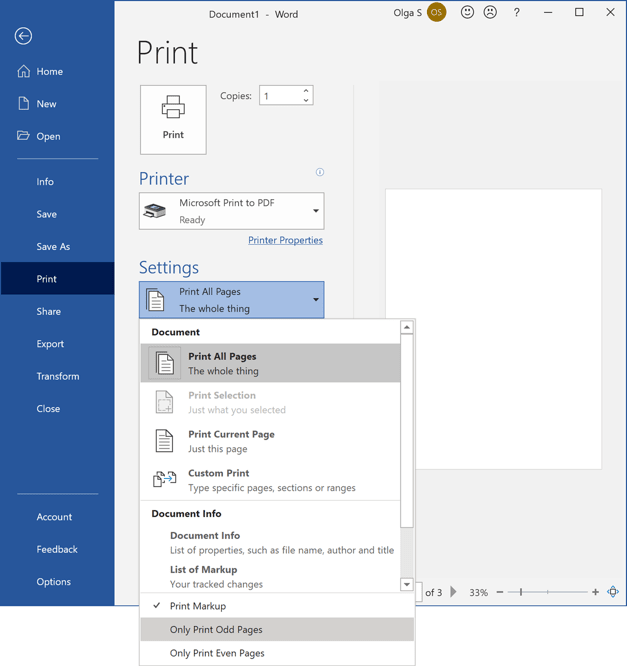 Only Print Odd Pages in Word 365