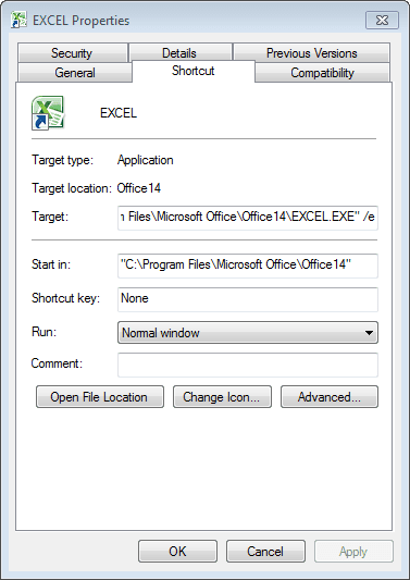Empty Option for Excel 2010